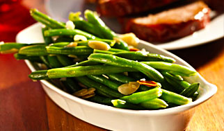 Green beans almandine for Thanksgiving Kosher certified in New Jersey, Cherry Hill, Mount Laurel, and Mainline Philadelphia by Panache Catering by Foodarama in Bensalem Pennsylvania 19020.